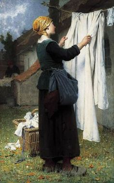 Painting by Désiré François Laugée. Clotheslines are so charmingly old fashioned. Sunlight kills germs and whitens white fabric. And there is nothing like the smell of laundry fresh from the clothes line. Laundry Art, Smelly Laundry, Laundry Lines, Vintage Laundry, French Artists, Les Oeuvres, Art Gallery, Illustration Art, Fine Art