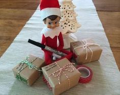 The Elf on the Shelf~ Elf gift wrapping via Brit + Co