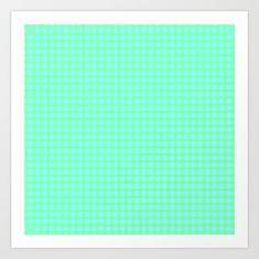 Green On Blue Plaid Art Print by Moonshine Paradise #society6 #plaid #pattern #art #artprint