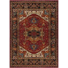 Brahim Red/Black Area Rug This comes in a 2' X 3' size. Love the colors and the fact that it's like art for the floor..