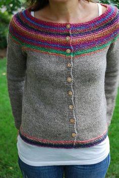Crochet Patterns Cardigan Ravelry: Project Gallery for Garter Yoke Cardigan pattern by Melissa LaBarre Crochet Cardigan Pattern, Sweater Knitting Patterns, Knit Or Crochet, Knitting Stitches, Knit Patterns, Free Knitting, Crochet Cats, Crochet Birds, Crochet Food