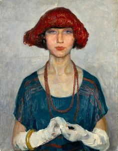 "Adriano de Sousa Lopes, ""The Blue Blouse"", 1920 Art Deco in Portugal"