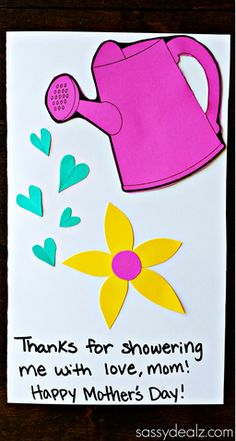 Watering Can Mother's Day Card Kids can Make - Sassy Dealz