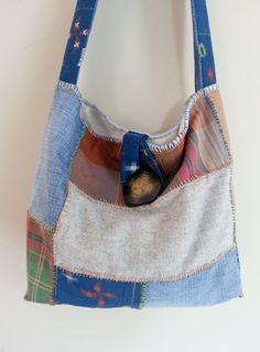 Japanese Boro Sashiko Stitch Indigo Wool by thejadedorris on Etsy