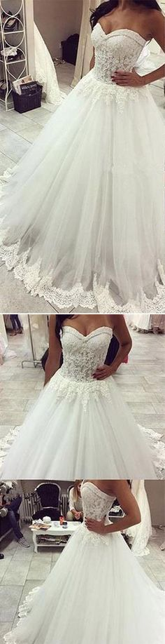 A-line Strapless Wedding Dress,Sweetheart Neck Lace Beaded Appliqued Chapel Train Ivory Wedding Gown,Lace Bridal Dress