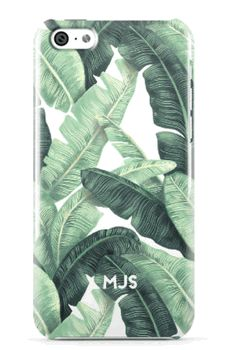 Minnie & Emma│Palm Beach Chic White All Over Banana Leaves mobile case