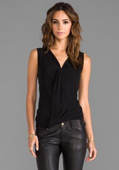 THEORY Parlier Sleeveless Blouse in Black at Revolve Clothing - Free Shipping! I love this look!