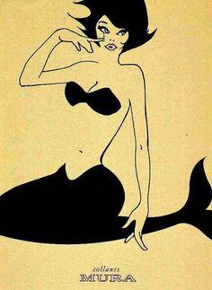 """"""" Mermaid in Black """" …. Print Advertising for Hosiery [Argentina]"""