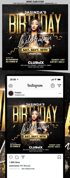 """Birthday Flyer Template is very modern psd flyer that will be the perfect invitation for your Night Club event or party! All elements are in individual layers and the text is fully editable! 2 PSD files – 4""""x4"""" with 0.25"""" bleed + 1080×1080 Rgb Social media ready Clearly labelled folders and layers"""