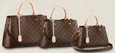 "Louis Vuitton Monogram Montaigne - Size BB (11.4"" x 7.9"" x 5.1"" US$2130).  Size MM (13"" x 9.1"" x 5.9"" US$2270).  Size GM (15.4"" x 11"" x 6.3"" US$2420).  January 2014"