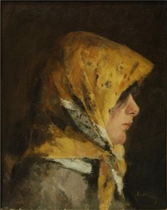 Portrait of a Peaseant with Yellow Kerchief (Andreescu, Ion - ) Painting Of Girl, Paintings I Love, People Figures, Girl Posters, Art Database, Impressionism Art, Realism Art, Art Blog, Great Artists