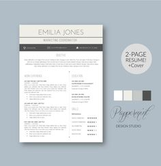 Resume Template For Word  Pages Plus Cover Letter   Resume