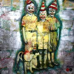 Art: 3 clowns and a dog by Artist Claudia Roulier