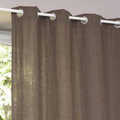 Cortina con ojales de lino lavado marrón 130 × 300cm