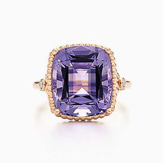 Tiffany Sparklers amethyst ring in 18k rose gold with diamonds.