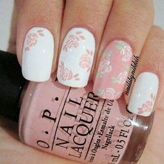 Romantic wedding special occasion pink white nail design