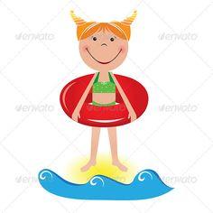 Cartoon little girl with a lifeline