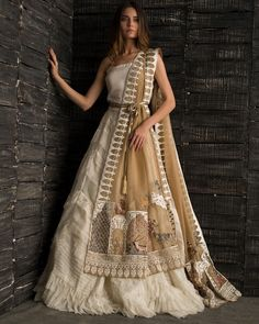 Nida Azwer's Formal Collection features this Gold Organza Lehnga with pleats a. - - Nida Azwer's Formal Collection features this Gold Organza Lehnga with pleats and texture paired with an Embroidered Organza Dupatta with handwork and . Indian Wedding Outfits, Bridal Outfits, Indian Outfits, Wedding Dresses, Indian Lehenga, Lehenga Designs, Indian Gowns Dresses, Pakistani Dresses, Indian Designer Outfits