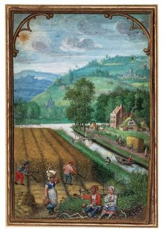 """August/ September miniature by Simon Bening, 1483 - 1561 """"This double-sided leaf may come from a Book of Hours, a type of prayer book. One side shows the month of August/September, with reaping. The other side shows the month of September/October, with ploughing"""" [http://collections.vam.ac.uk/item/O82391/miniature-benninck-simon/]"""