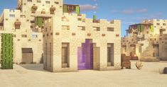 New nether portal for my desert city in survival. Minecraft Desert House, Minecraft Cottage, Minecraft Castle, Minecraft Plans, Minecraft Survival, Minecraft Blueprints, Minecraft Kingdom, Easy Minecraft Houses, Minecraft House Tutorials