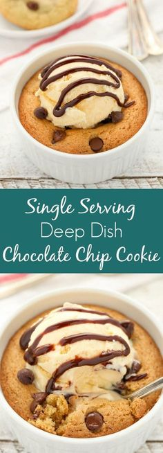 This Single Serving Deep Dish Chocolate Chip Cookie is slightly crisp on the edges, soft in the center, and so easy to make. You can even bake this recipe into 4 cookies, so it's perfect for sharing too!