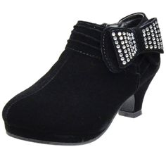 Kids Ankle Boots Rhinestone Embellished Bow High Heel Booties Black little girl shoes footwear outfit