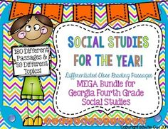 This mega pack includes all of my differentiated close reading passages, comprehension questions, fill in the blank higher order thinking questions, and writing prompts for the 59 different topics found in the Georgia Performance Standards for Fourth Grade:*PLEASE* DOWNLOAD THE PRODUCT PREVIEW for information regarding each topic's Lexile levels and a better idea of what you will receive!