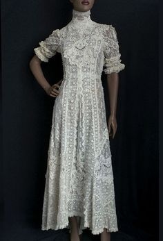 Embroidered tea dress, c.1905 worn for wedding dress. From the Vintage Textile archives.