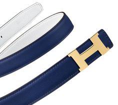09a519105942 Hermès Cuir de ceinture réversible pour femme en veau Swift, coloris bleu  saphir et veau