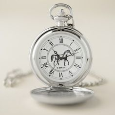 Monogram. Vintage Roman. Black and White Horse. Pocket Watch - monogram gifts unique custom diy personalize