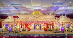 we are South Indian wedding decoration providers with conceptualised decoration in and around Hyderabad. Since 2000 with Royal weddings and receptions. With a gathering of 2000 to 65000 attendees. Marriage Hall Decoration, Wedding Hall Decorations, Engagement Decorations, Garland Wedding, Flower Decorations, Wedding Bells, Telugu Wedding, Wedding Mandap, Traditional Wedding Decor