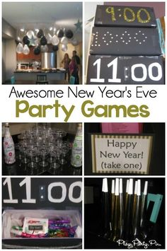 Simple New Year's Eve Party Ideas & Countdown Boxes - Play Party Plan These are the best New Year's Eve party games! Love the hourly boxes with New Year's Eve trivia and printable games! New Years Eve Games, New Years Eve Day, New Years Eve Party Ideas For Adults, New Year's Eve Games For Adults, New Years Party Themes, New Years With Kids, New Years Eve Food, Silvester Diy, Silvester Party