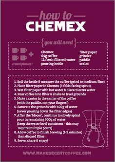 A cheeky little guide on how to brew decent #coffee using #chemex - Enjoy!
