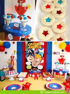 Table setting with Captain America Birthday Theme decorations, star shaped sandwiches,Red and Blue Marshmallow pops and red Super-Soldier Serum drink Avengers Birthday, Superhero Birthday Party, 4th Birthday Parties, Birthday Ideas, Captain America Party, Captain America Birthday, Anniversaire Captain America, Party Ideas, Cake Kids