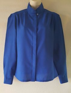 Combinations Blue Long Sleeve Enclosed Button Down Embroidered Collar Blouse #Combinations #Blouse #Career
