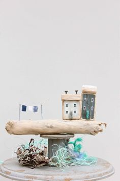 Fishing cottage made from driftwood