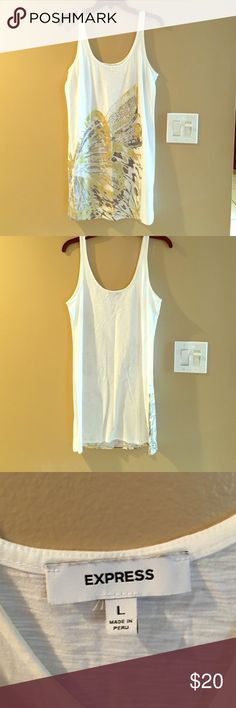 Long Express Tank Top White tank top with a gold butterfly by Express. There are silver jewels/diamond on it too. Very clean. Only worn twice. No stains or holes Express Tops Tank Tops