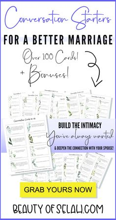 Do you want to build intimacy in your marriage while learning how to communicate? These marriage conversation starters will spark deep conversations between you and your spouse! Comes with over 100 cards, plus bonuses! Marriage Couple, Biblical Marriage, Marriage Prayer, Marriage Help, Best Marriage Advice, Strong Marriage, Marriage Relationship, Love And Marriage, Relationship Challenge