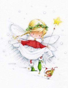 Image du Blog loveferrari.centerblog.net Christmas Fairy, Christmas Clipart, Vintage Christmas Cards, Christmas Printables, Christmas Pictures, Christmas Angels, Vintage Cards, Christmas Time, Christmas Crafts