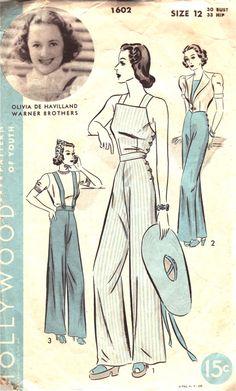 Hollywood Pattern 1602 Vintage 40s Olivia De Havilland - Slacks, Overalls, Jacket. Slacks with suspenders