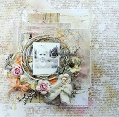 "Erin Blegen: My Scrap Cabin: Layout created for Blue Fern Studios; also using 7 Dots Studio ""Messy Head"" collection papers and Prima Lyric and canvas papers."
