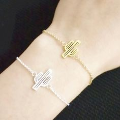 Cactus bracelet (gold or silver) Stainless steel lobster clasp bracelet featuring a cactus cut out. Measures 14.5cm Jewelry Bracelets