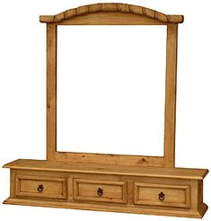 This rustic pine jewelry box and mirror frame combo is the perfect dresser topper, giving you a few more drawers for smaller items and a mirror frame to hold a dressing mirror. Rustic Pine Furniture, Mexican Pine Furniture, Pine Bedroom Furniture, Brown Furniture, Southwestern Home Decor, Southwestern Style, Dressing Mirror, Western Decor, Wood Construction