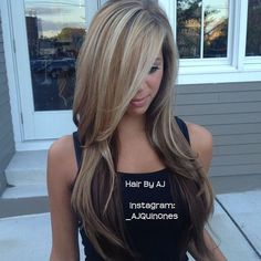 long blonde and brown hair