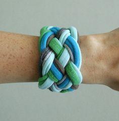 Fabric Bracelet - Blues, Greens, and Grays T-Shirt Bracelet -  Braided Bracelet - Eco Friendly Jewelry - Fabric Jewelry