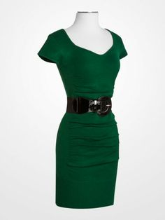 Derek Heart Emerald Green Ruched Knit Dress $17.99