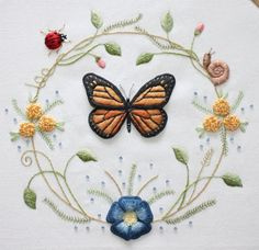 Butterfly Wreath Pattern for Stumpwork and Surface by Theflossbox, $4.00