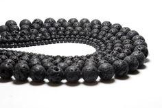 Black Volcanic Lava Round Stone Beads