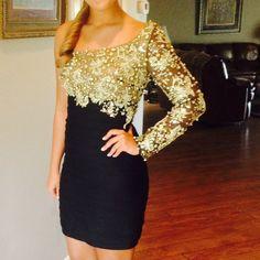 One Shoulder Black & Gold Jovani Dress