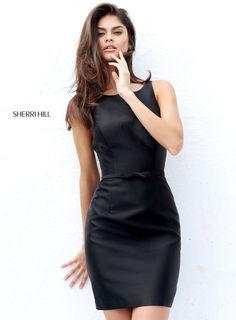Sherri Hill Short Open Back Simple Fitted Little Black Dress
